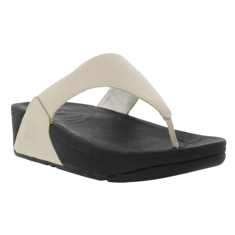 7eba748a0f121f Details about Fitflop Lulu Leather Womens White Black Flip Flop Toe Post Sandals  Size 5-7