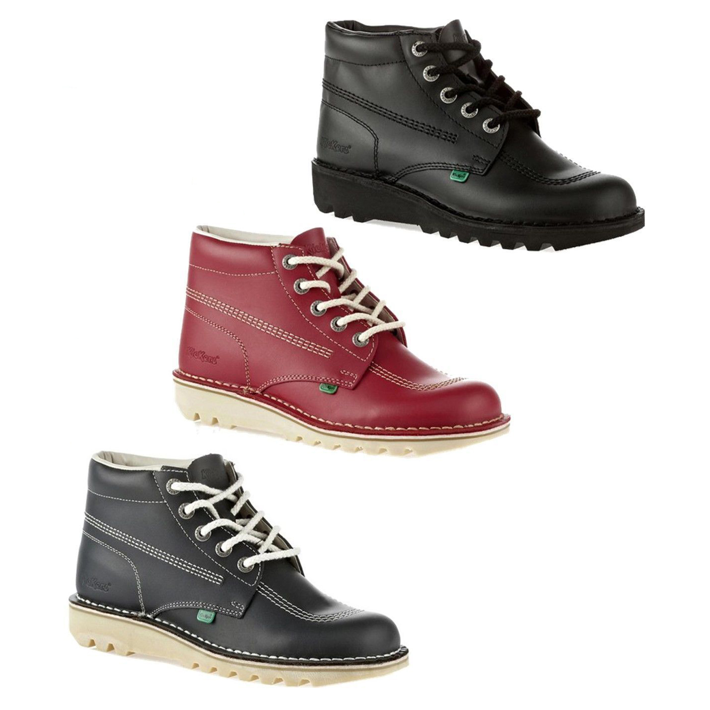 Kickers Kick Hi Mens Black Red Blue Leather Ankle Boots ...