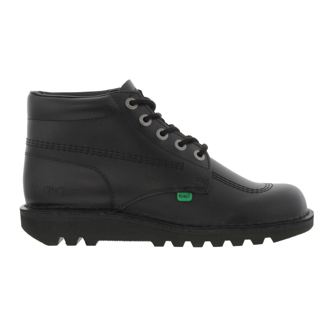 Kickers Kick Hi Womens Ladies Boys Girls Black Boots Size Adult 3-6