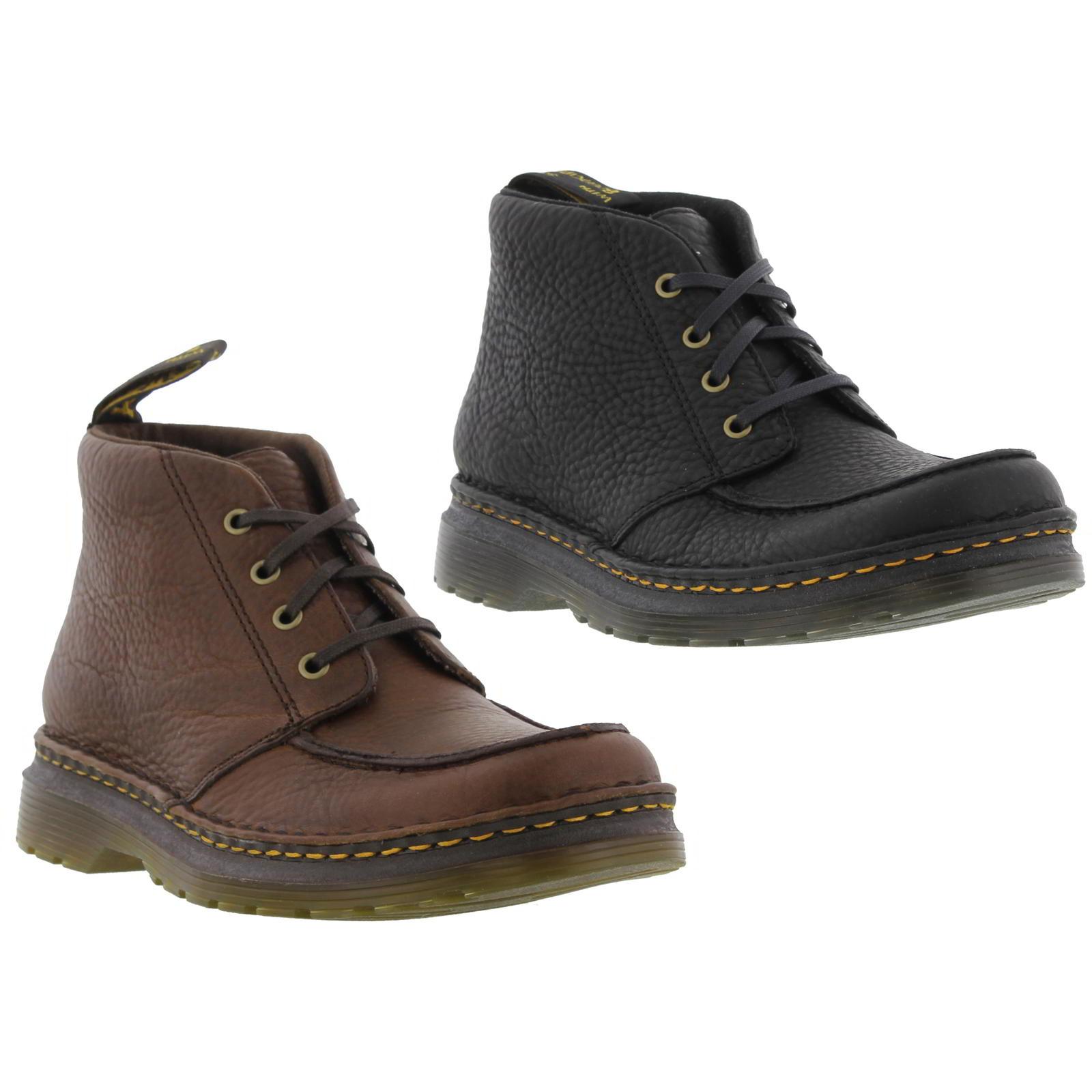 99f0bcb2 Dr Martens Austin Mens Moc Toe Black Brown Leather Chukka Boots Size ...