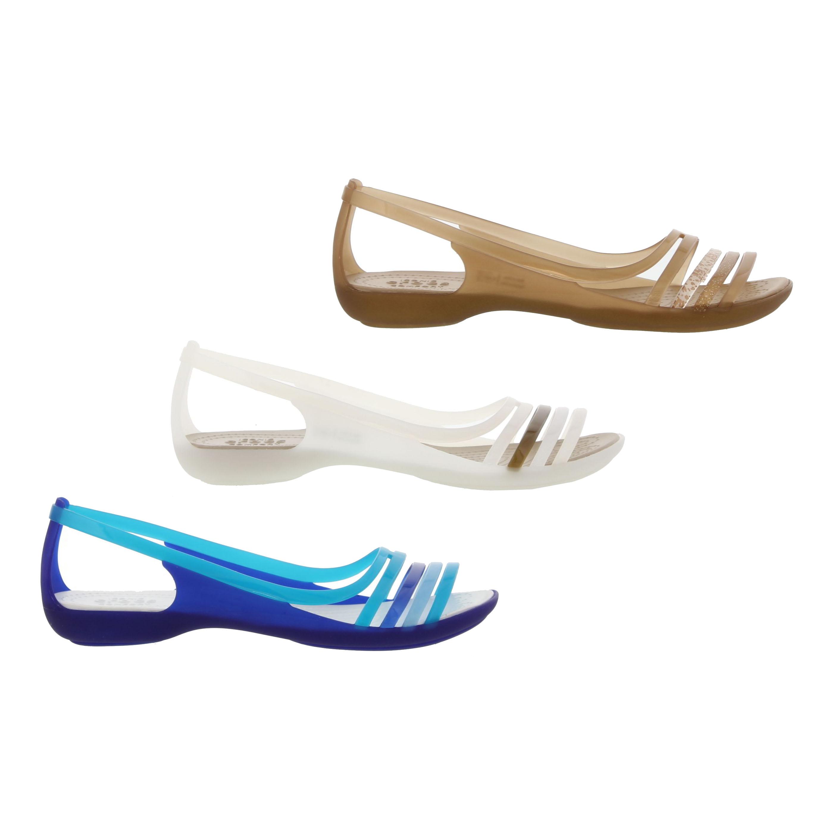 82659cb0443ca Crocs Isabella Huarache Flat Womens Slip On Sandals Shoes Size UK 4 ...