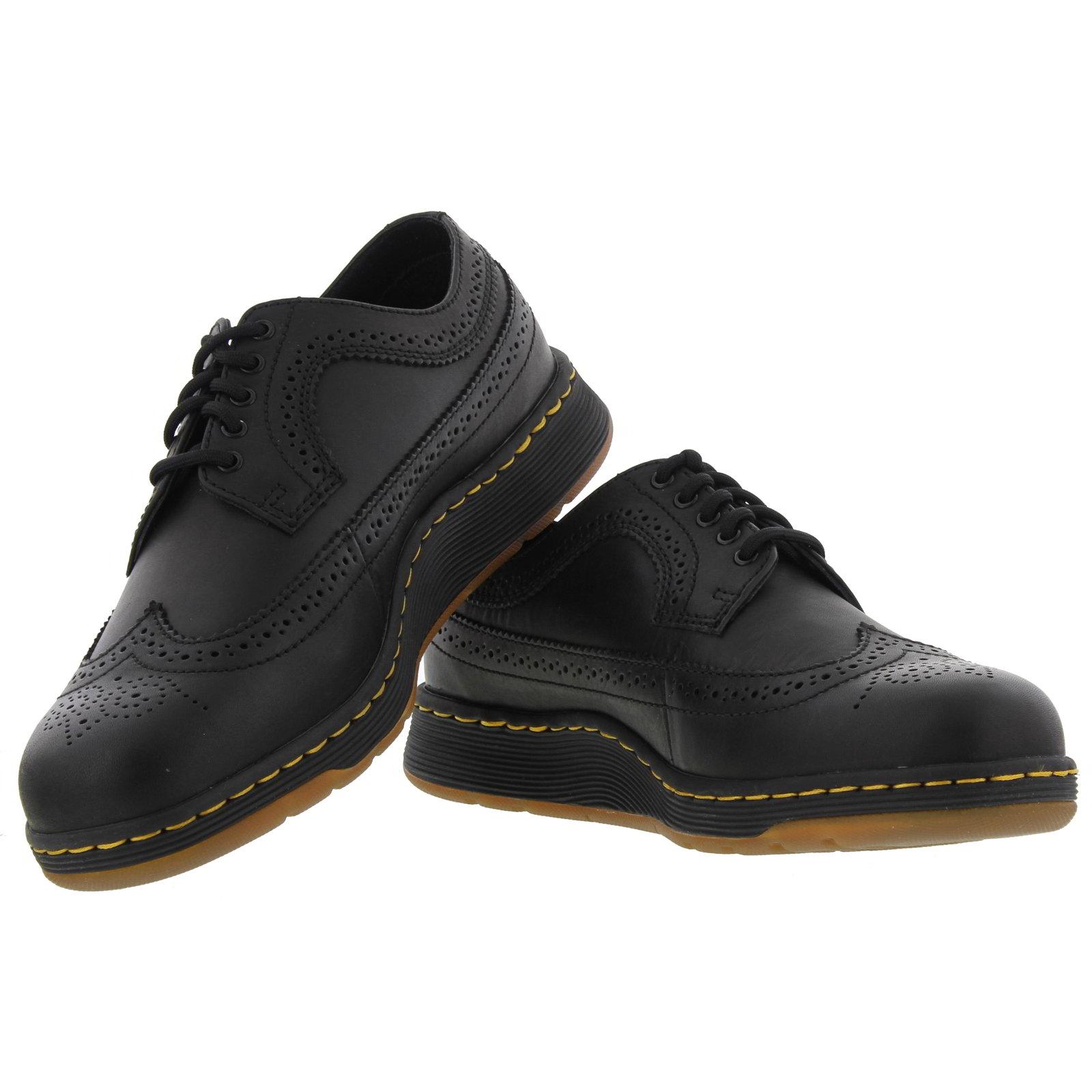 dr martens gabe wingtip brogue mens black leather shoes. Black Bedroom Furniture Sets. Home Design Ideas