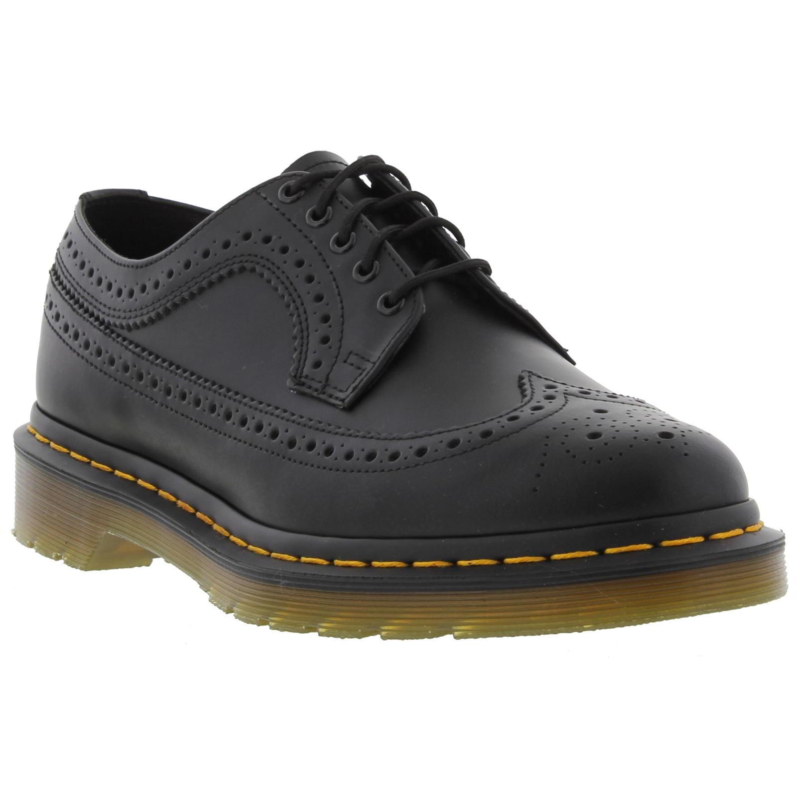 dr martens 3989 wingtip brogue mens black leather shoes. Black Bedroom Furniture Sets. Home Design Ideas