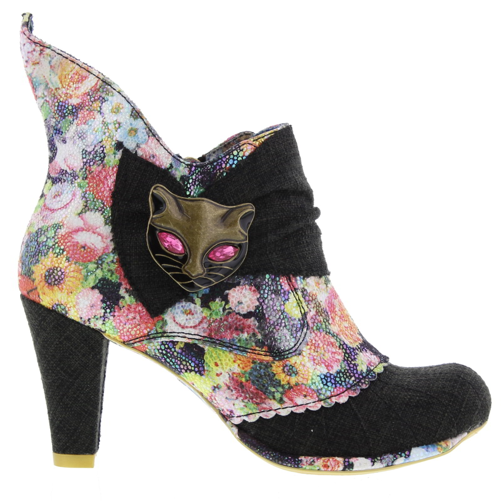 Details about Irregular Choice Miaow Womens Black High Heel Party Ankle  Boots Size UK 5 b2e47a946d80