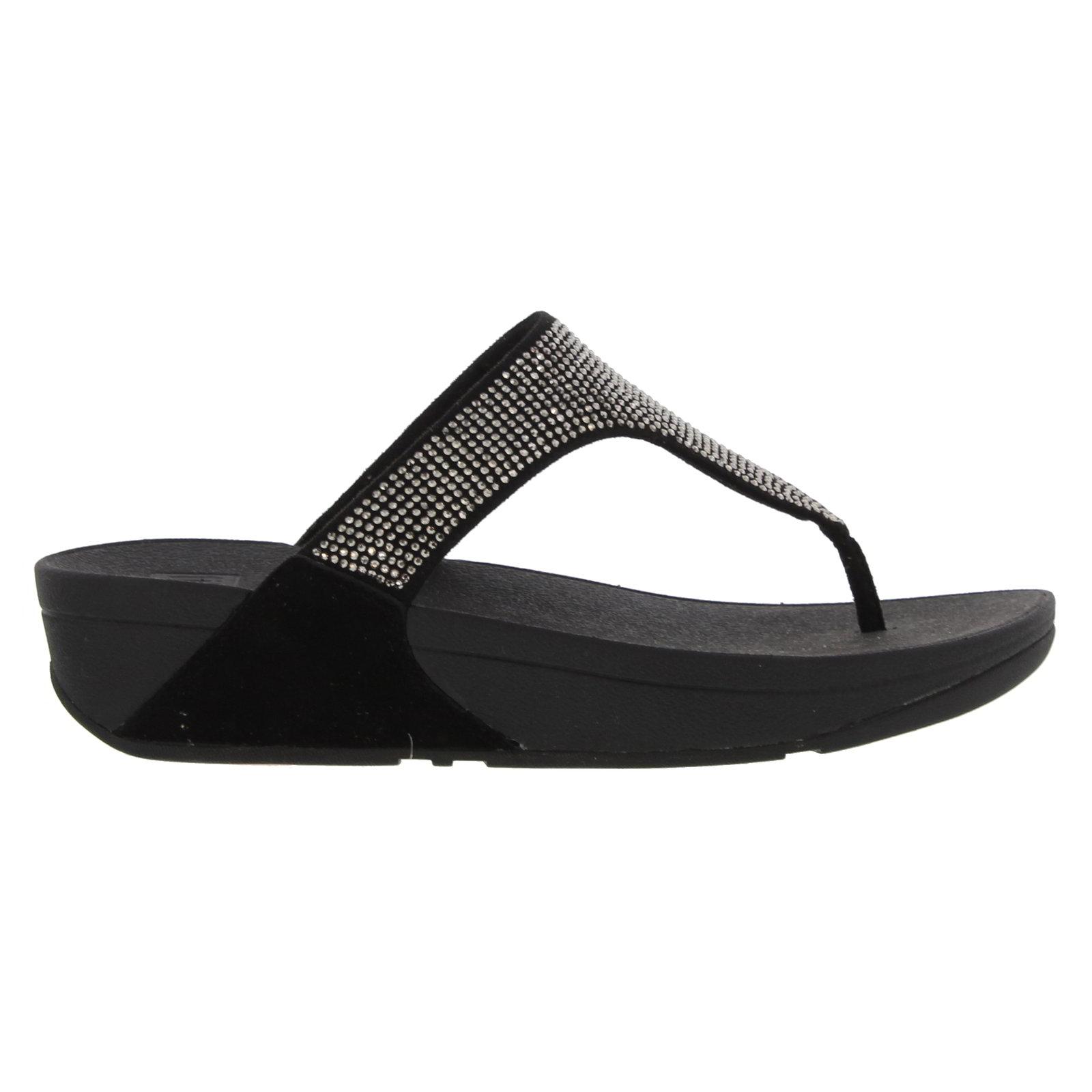 c47a67031 Details about Fitflop Slinky Rokkit Toe Post Sandals Womens Flip Flop Black  Navy Silver UK 4-8