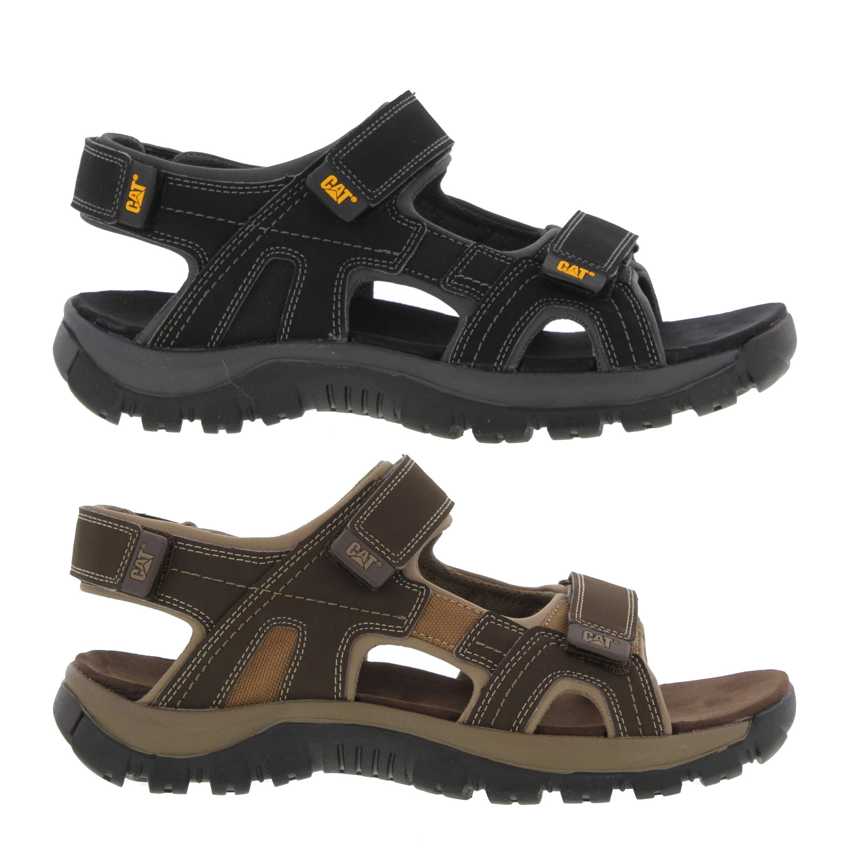 559ade7fa078d Szczegóły o Caterpillar Giles Mens Black Brown Leather Walking Sandals  Sizes UK 7-12