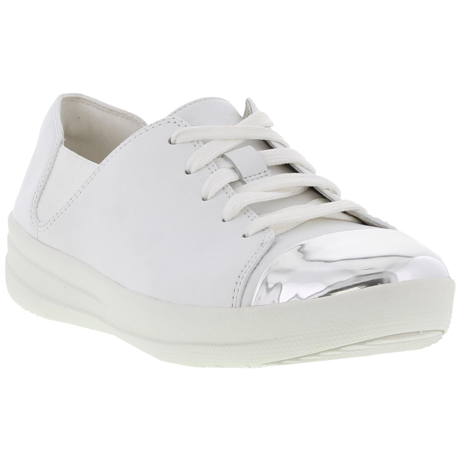 002550ad5 Detalhes sobre Fitflop F Sporty Mirror Toe Sneaker Womens Ladies White  Trainers Shoes Size 4-8