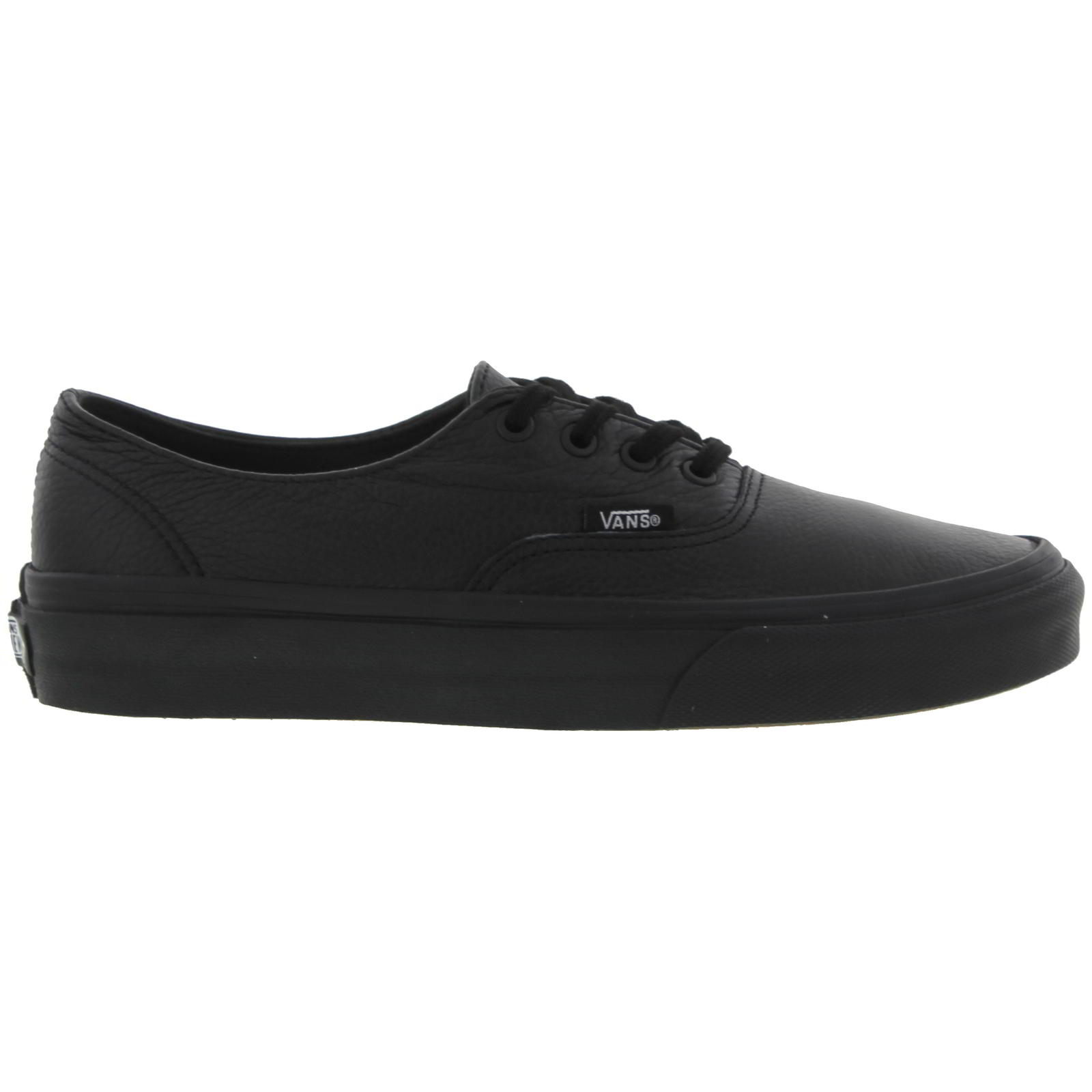 4b10662219f0b0 Details about Vans Authentic Mens Womens All Black Leather Lace Up Trainers  Shoes Size 7.5-12