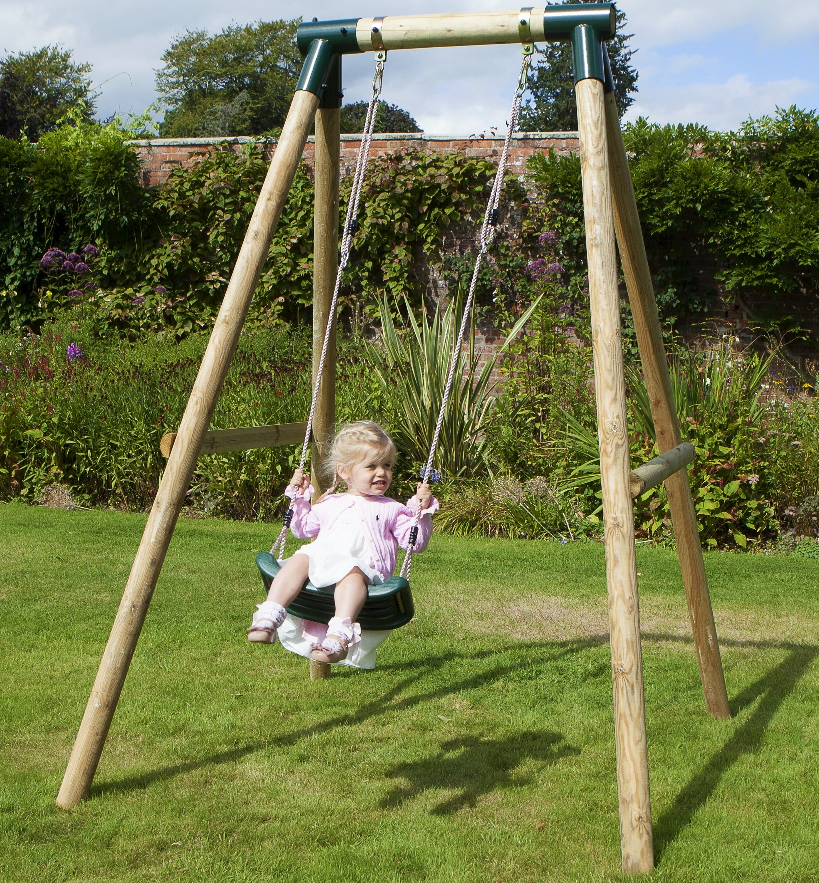 Rebo Kids Wooden Garden Swing Set Childrens Swings - Solar ...