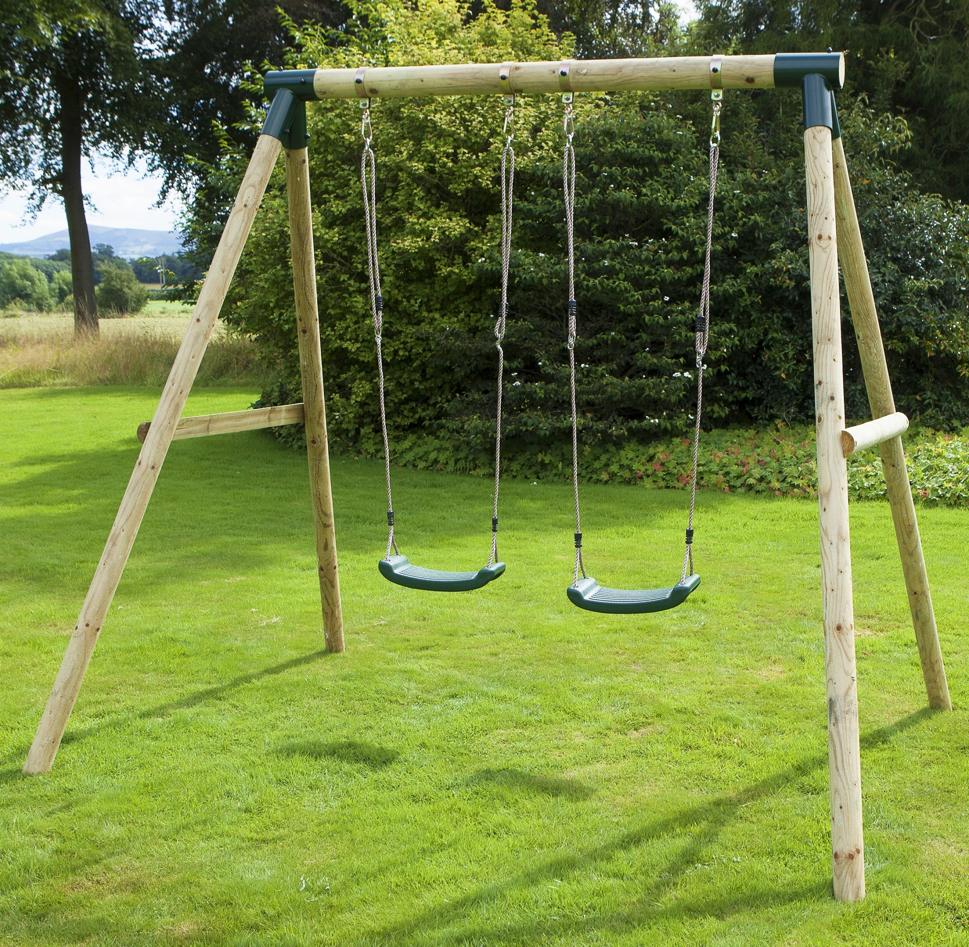 Rebo Venus Wooden Garden Swing Set - Double Swing