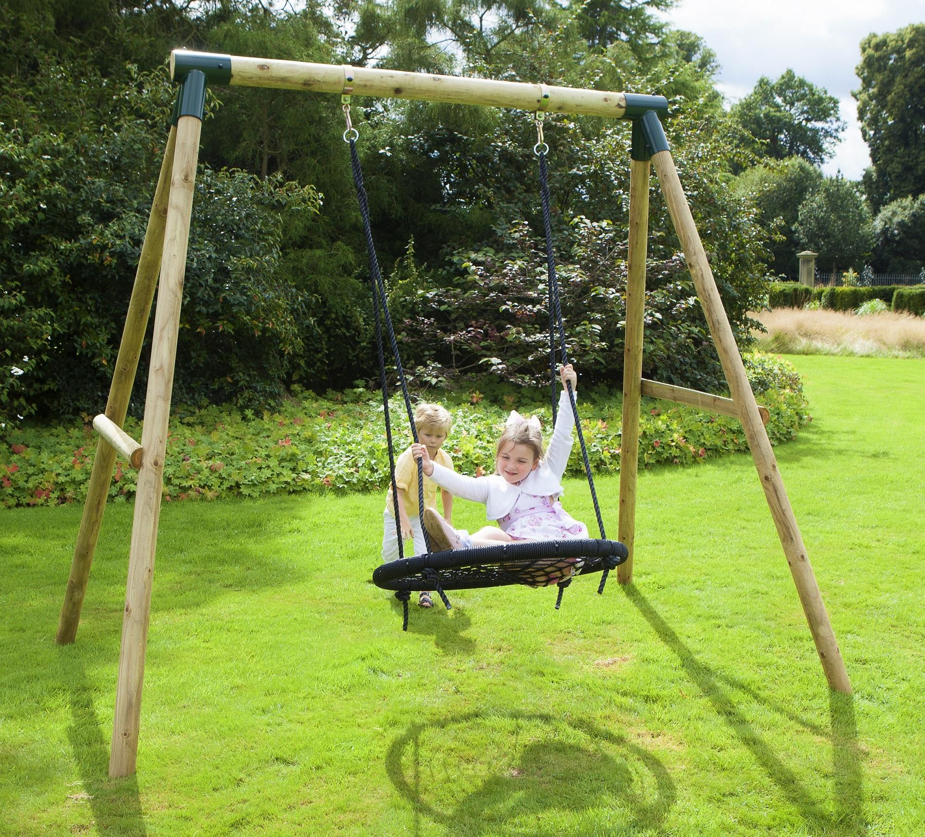 Rebo Mercury Wooden Garden Swing Set - Spider Net/Nest ...