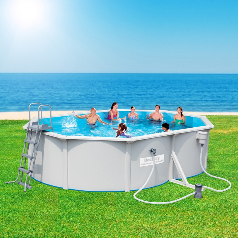 Ovalpool set great intex metal pool set oval ladder with for Bestway pools for sale