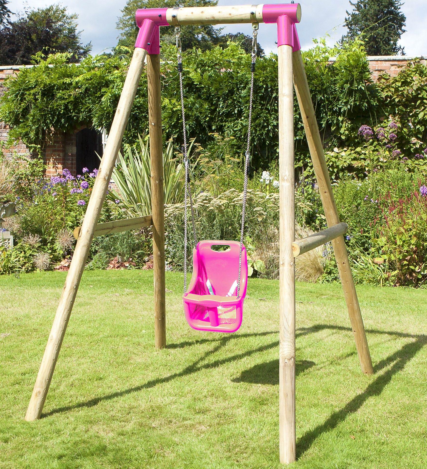 Rebo Kids Wooden Garden Swing Set Childrens Swings - Pluto ...