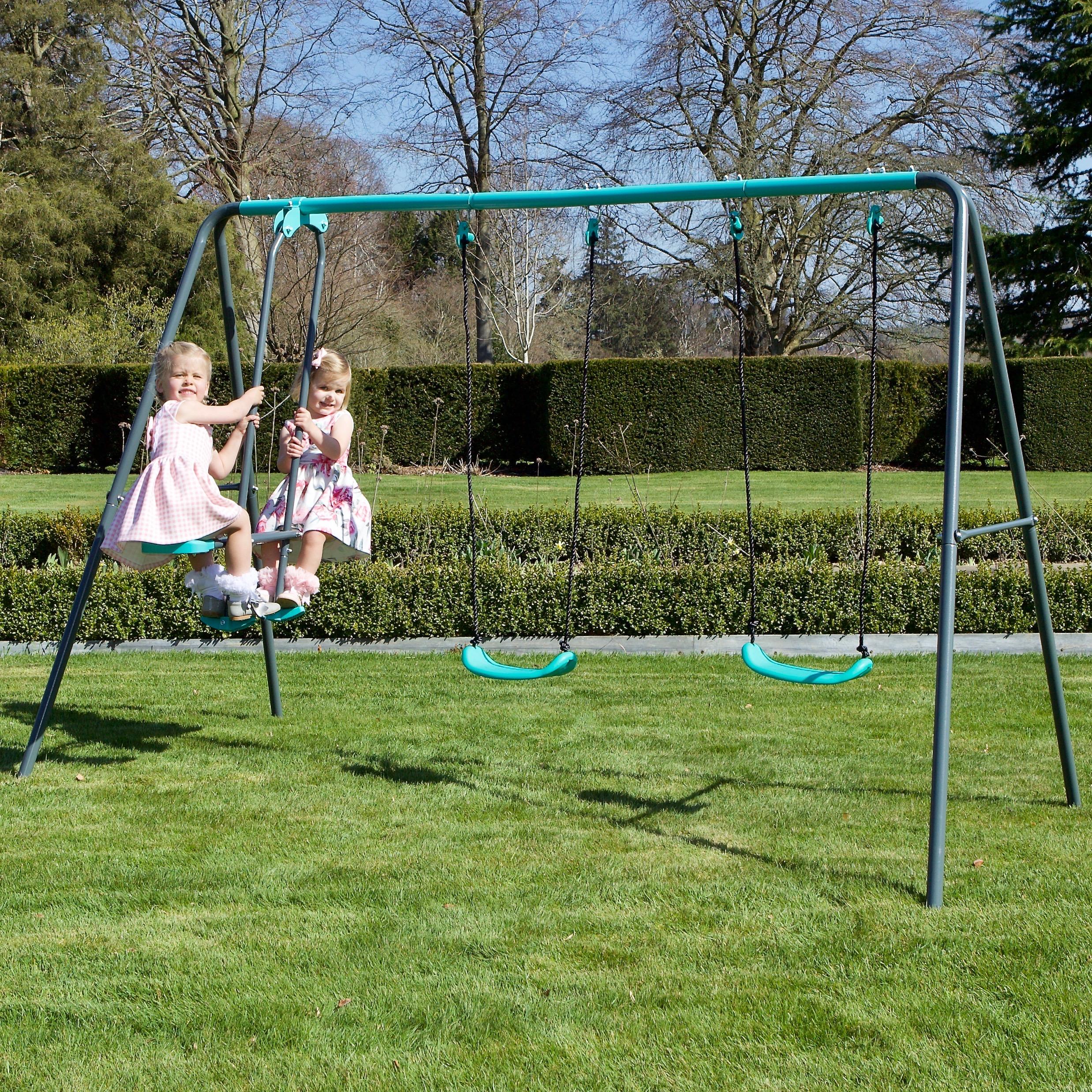 Rebo Children's Metal Garden Swing Set - Double Swing ...