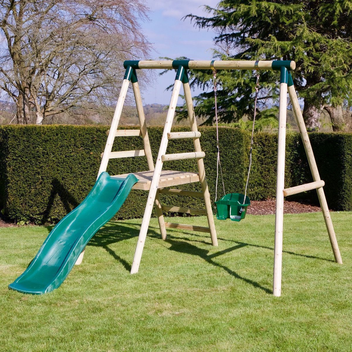 Details About Rebo Cassini Wooden Swing Set With Platform And Slide