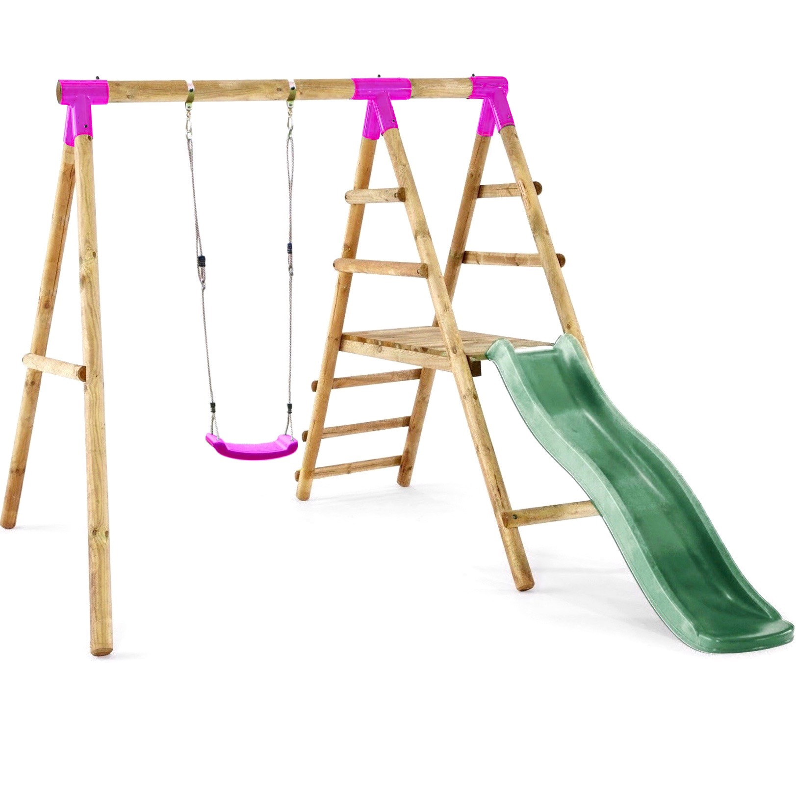 Details About Rebo Apollo Wooden Swing Set With Platform And Slide Pink