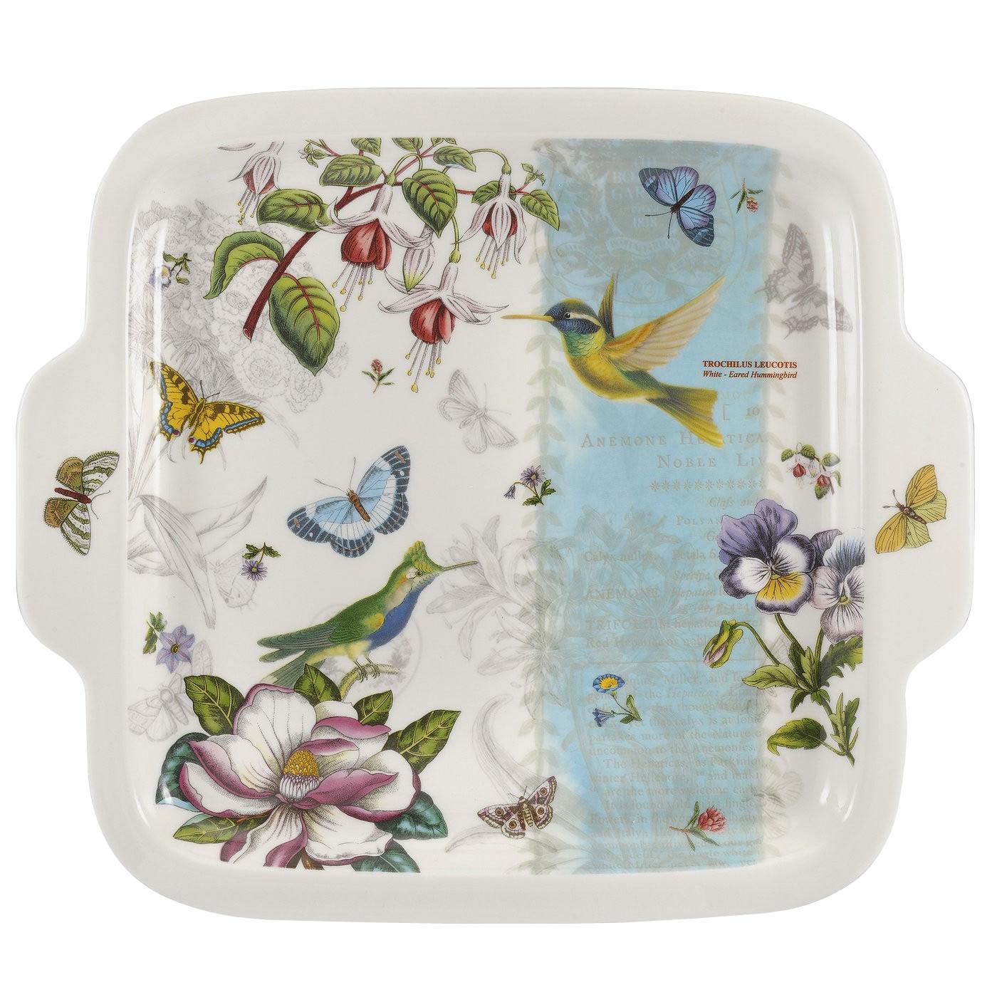 sentinel portmeirion botanic garden hummingbird square dessert plate porcelain tableware