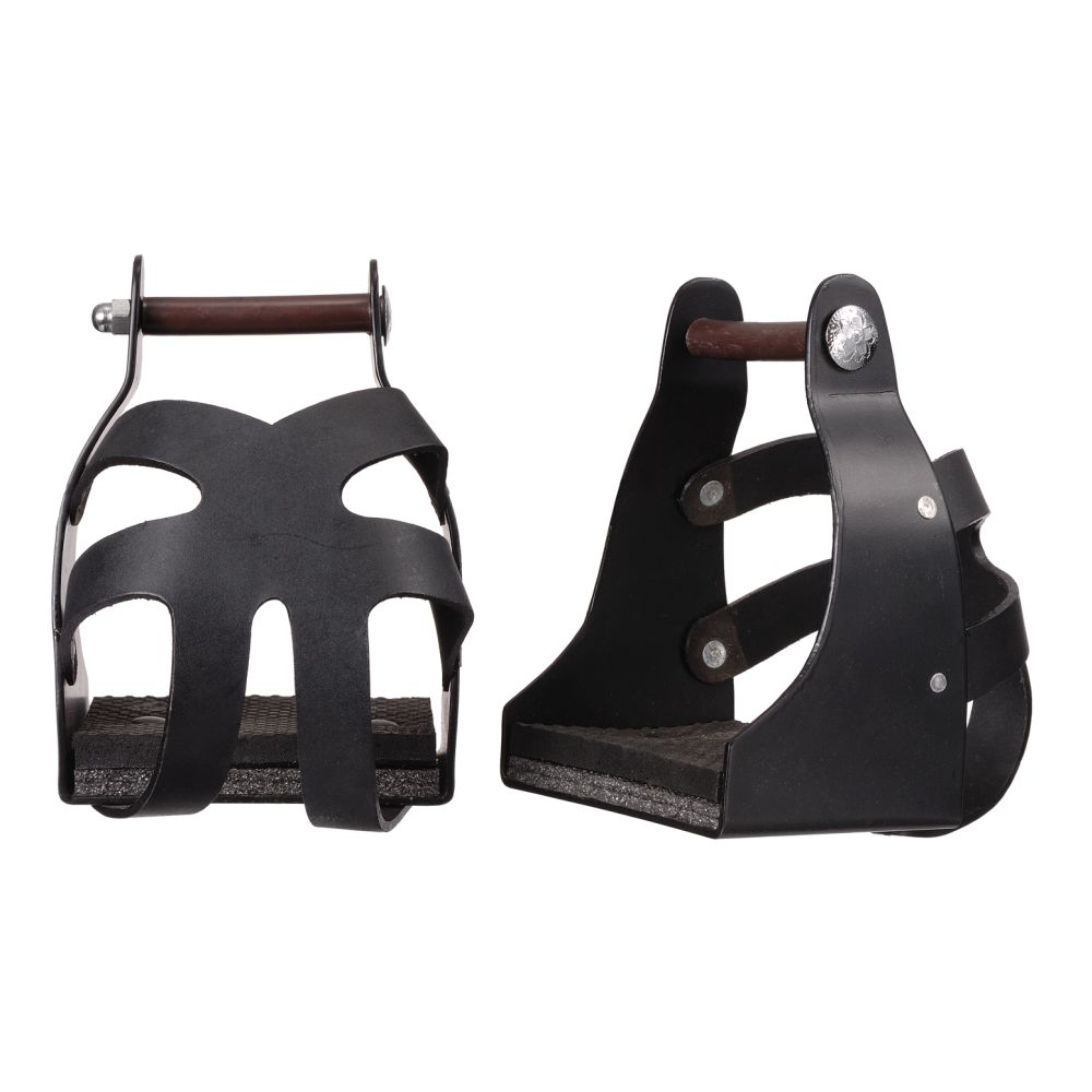 """Tough-1 1/"""" Leather Covered Padded Endurance Stirrups with 4 1//2/"""" Tread"""