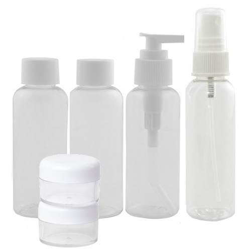 6 Piece Travel Flight Holiday Clear 100ml Plastic Bottle ...
