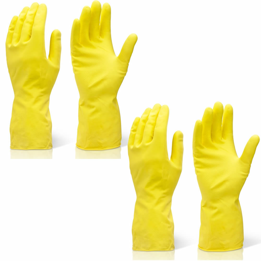 2-Pairs-Household-Cleaning-Washing-Up-Latex-Kitchen-Gloves-Yellow-Rubber-S-M-L