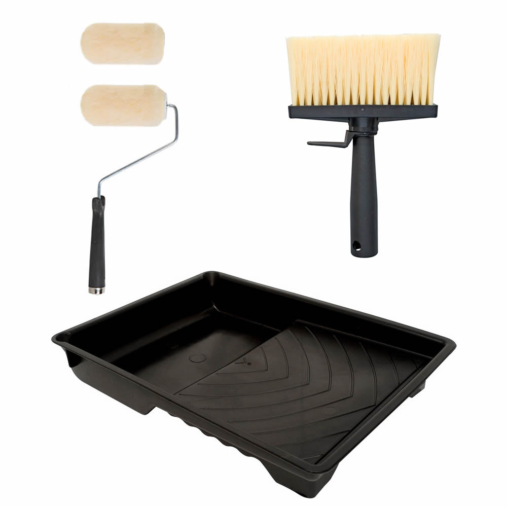 5pc Shed Fence Wood Decking Roller Amp Brush Painting Set