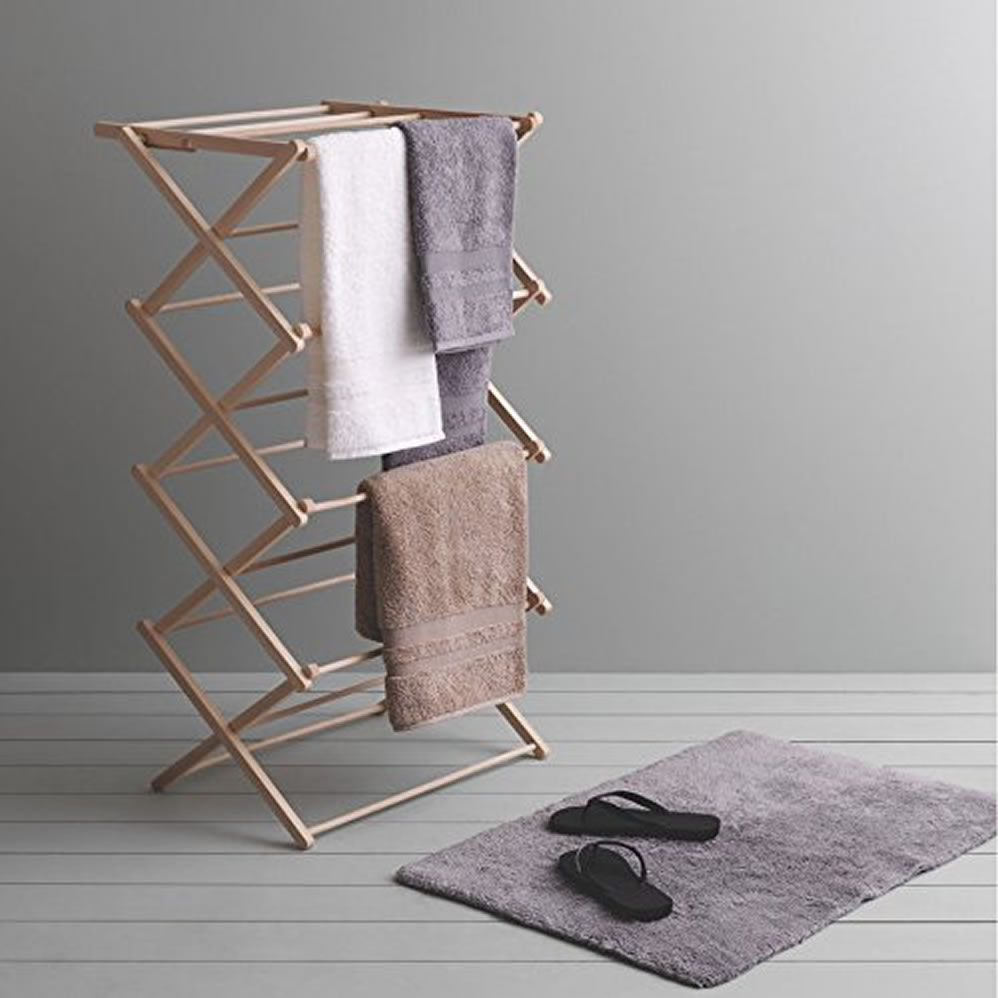 Wooden Clothes Horse Airer Laundry Hanging Folding Dryer Indoor Drying Rack Ebay