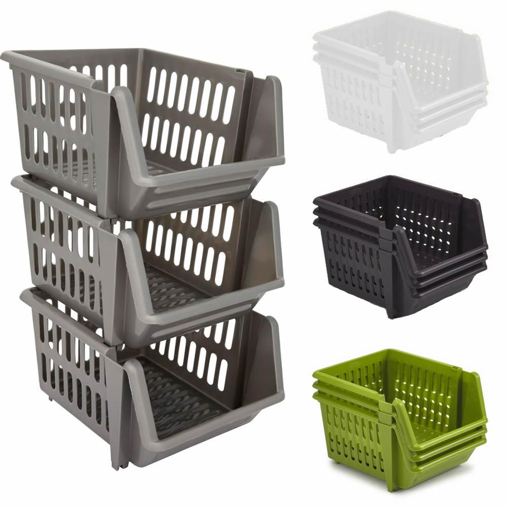Kitchen Vegetable Storage Baskets: Set Of 3 Stackable Storage Basket Kitchen Fruit Vegetable