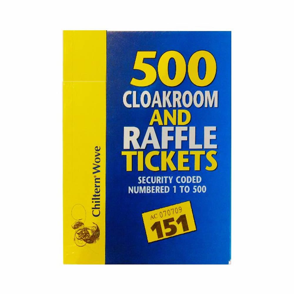 sentinel clockroom raffle tombola book security coded coloured 500 number tickets