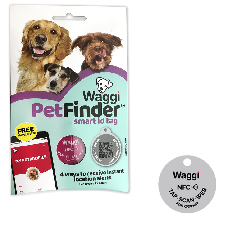 Waggi-Pet-Finder-Smart-Pet-Dog-Cat-ID-Tag-Identity-Disc-Collar-NFC-Scan