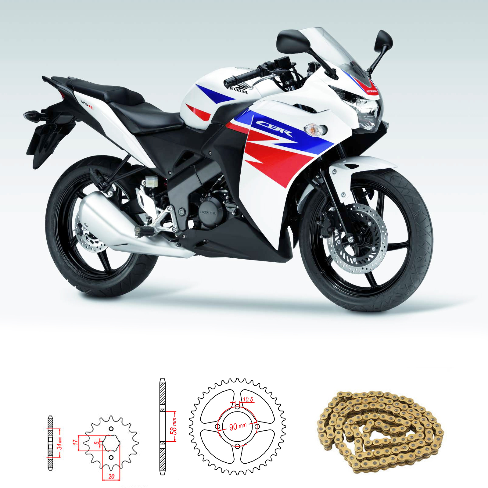 Honda Cbr 125 R B D 2011 2016 Heavy Duty Chain And