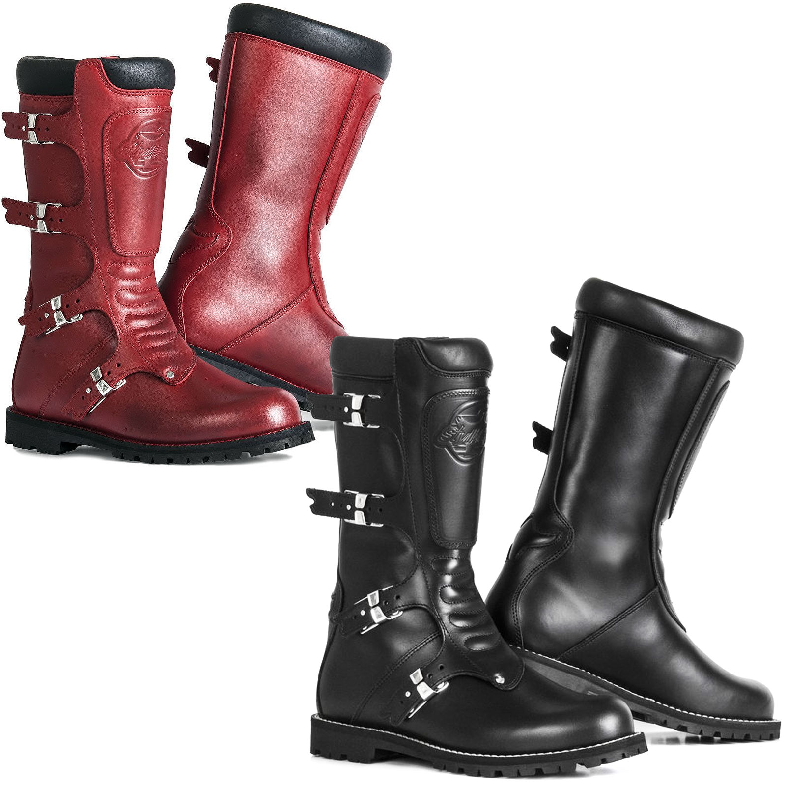 da6e8ca57d Details about Stylmartin Rocket Continental Vintage Motorcycle Bike Boots  With Buckles Red Blk