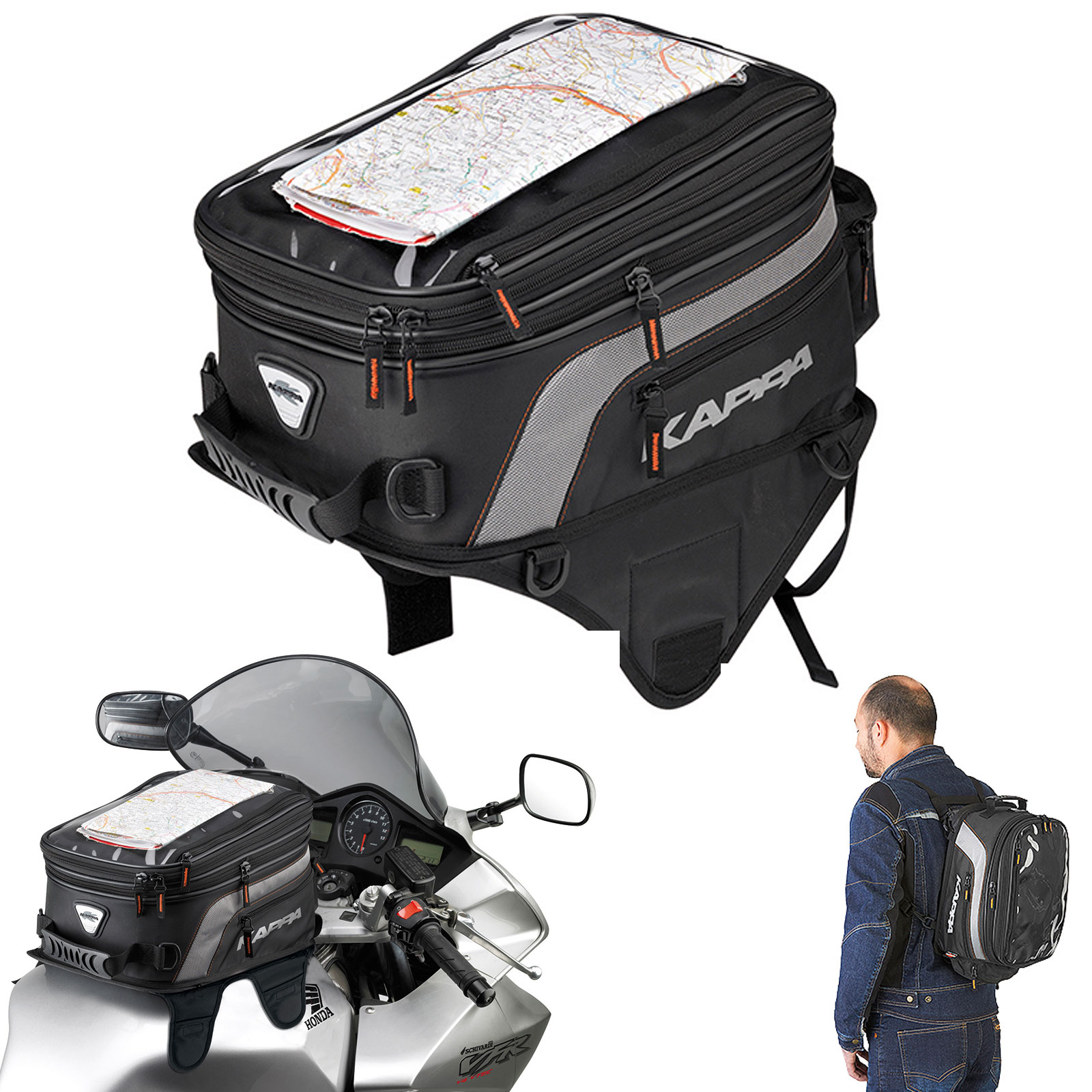 eefd5abccd Details about Kappa By Givi Expandable Magnetic & Strap On Motorcycle Tank  Bag Black 14-24L