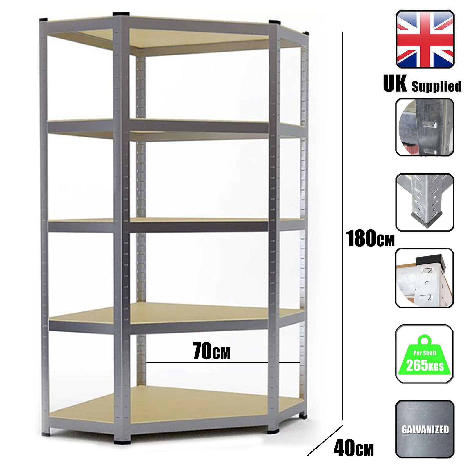 Details About Metal Shelving Industrial Boltless Racking Heavy Duty Corner Shelf Bay 5 Tier