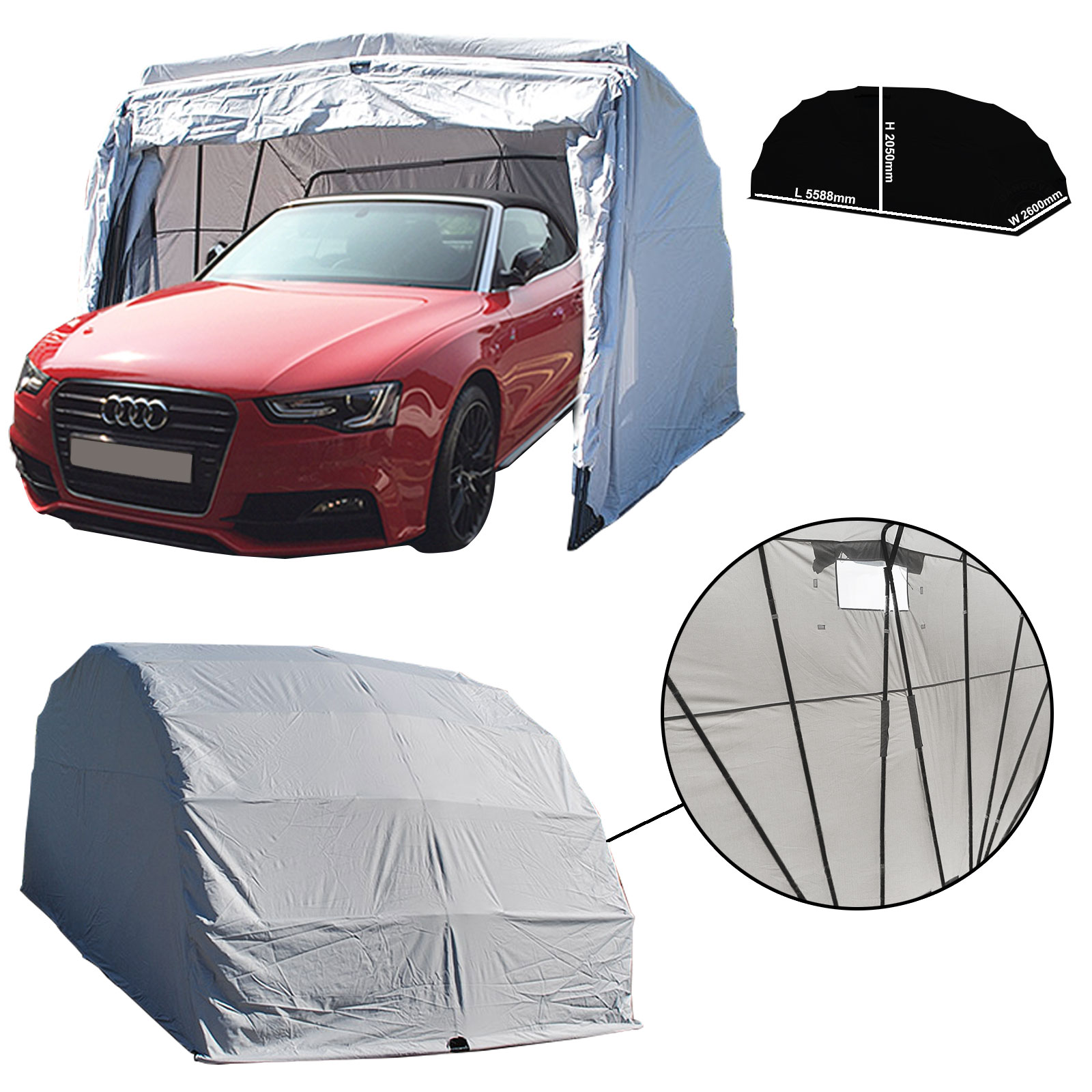 Portable Garage Carport Shelter Folding Canopy L 5588mm x ...
