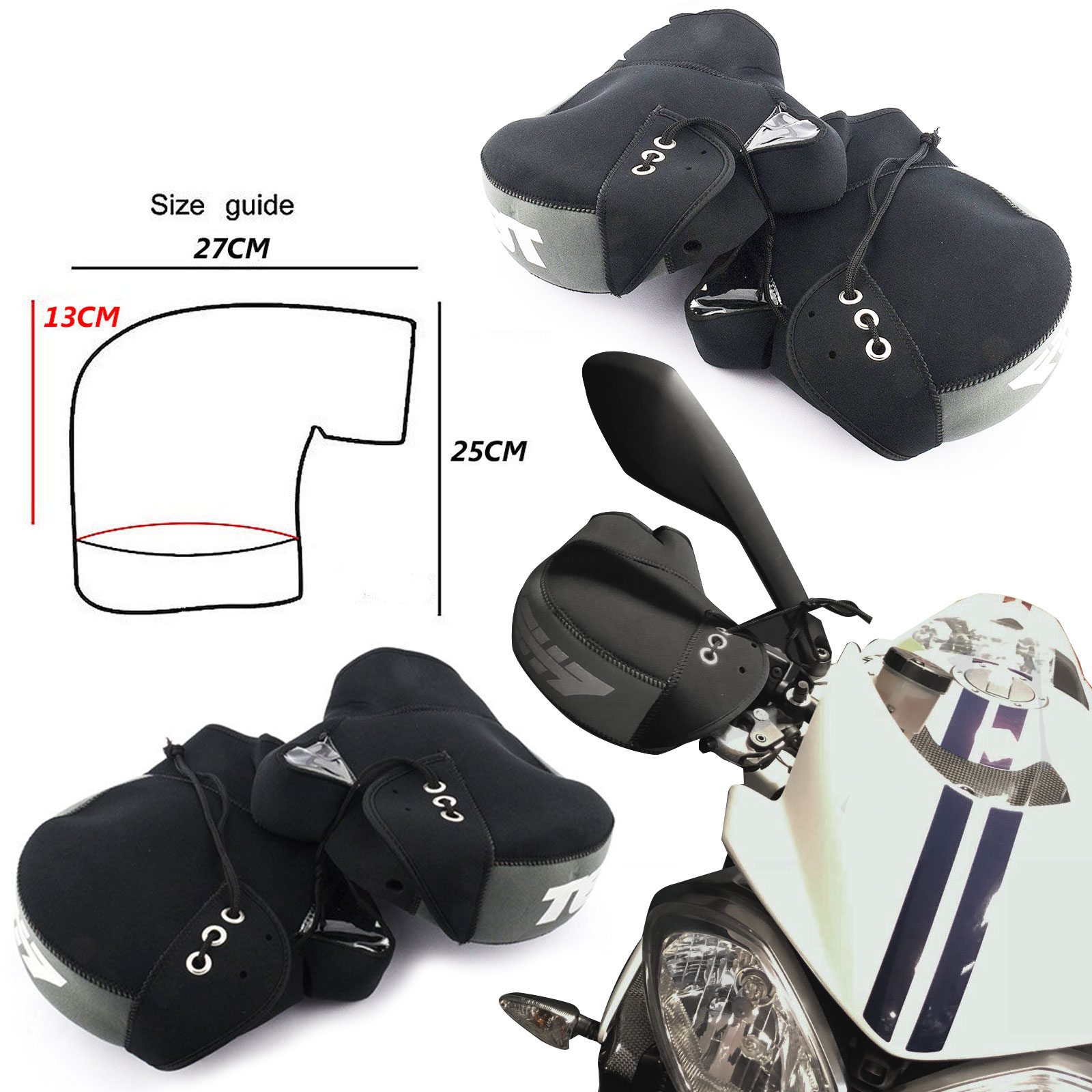 Bike It Motorbike Motorcycle Boxer Bar Neoprene Muffs Mitts Gloves