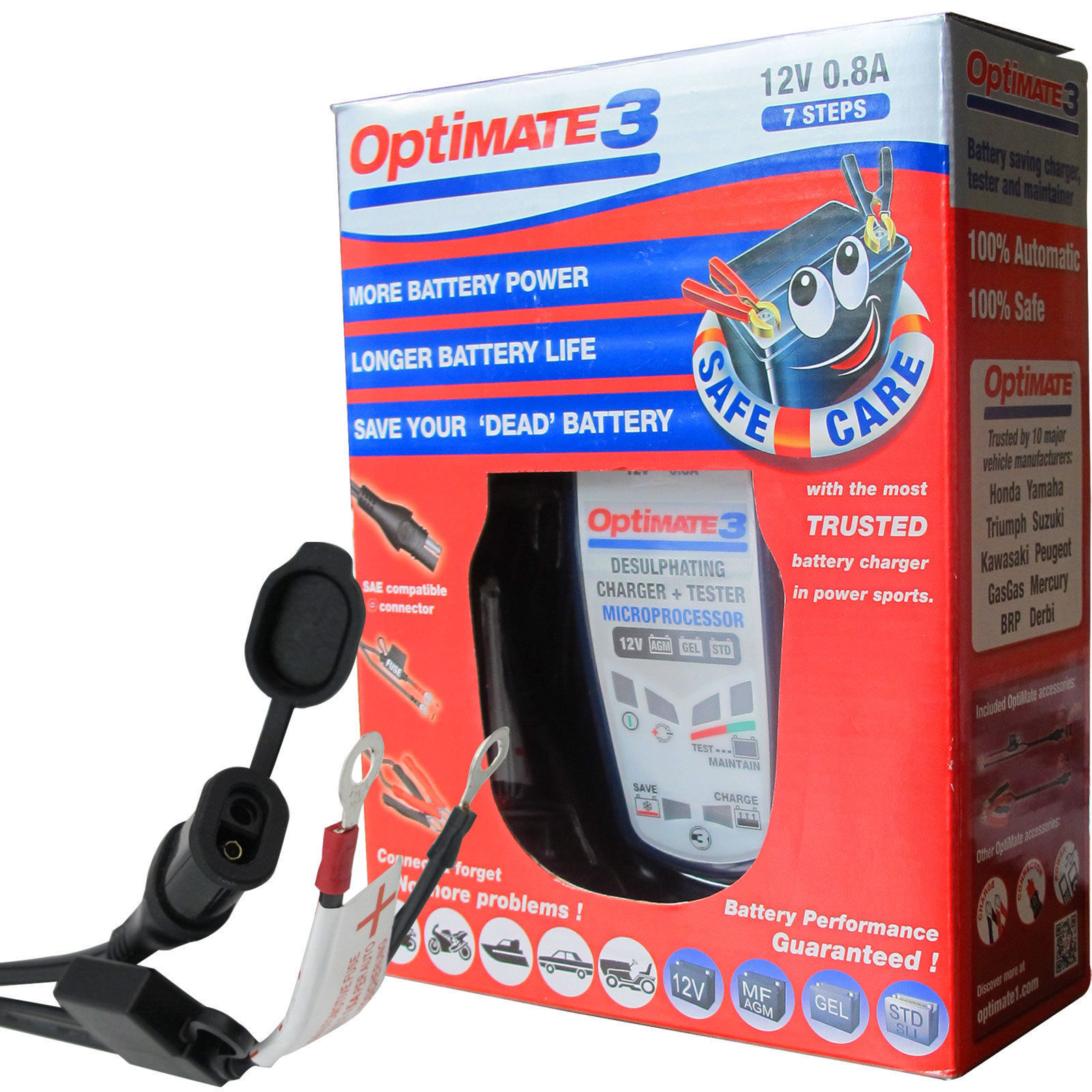 was 3+ New Optimate 3 12V Battery Charger and Tester for Motorcycle Batteries