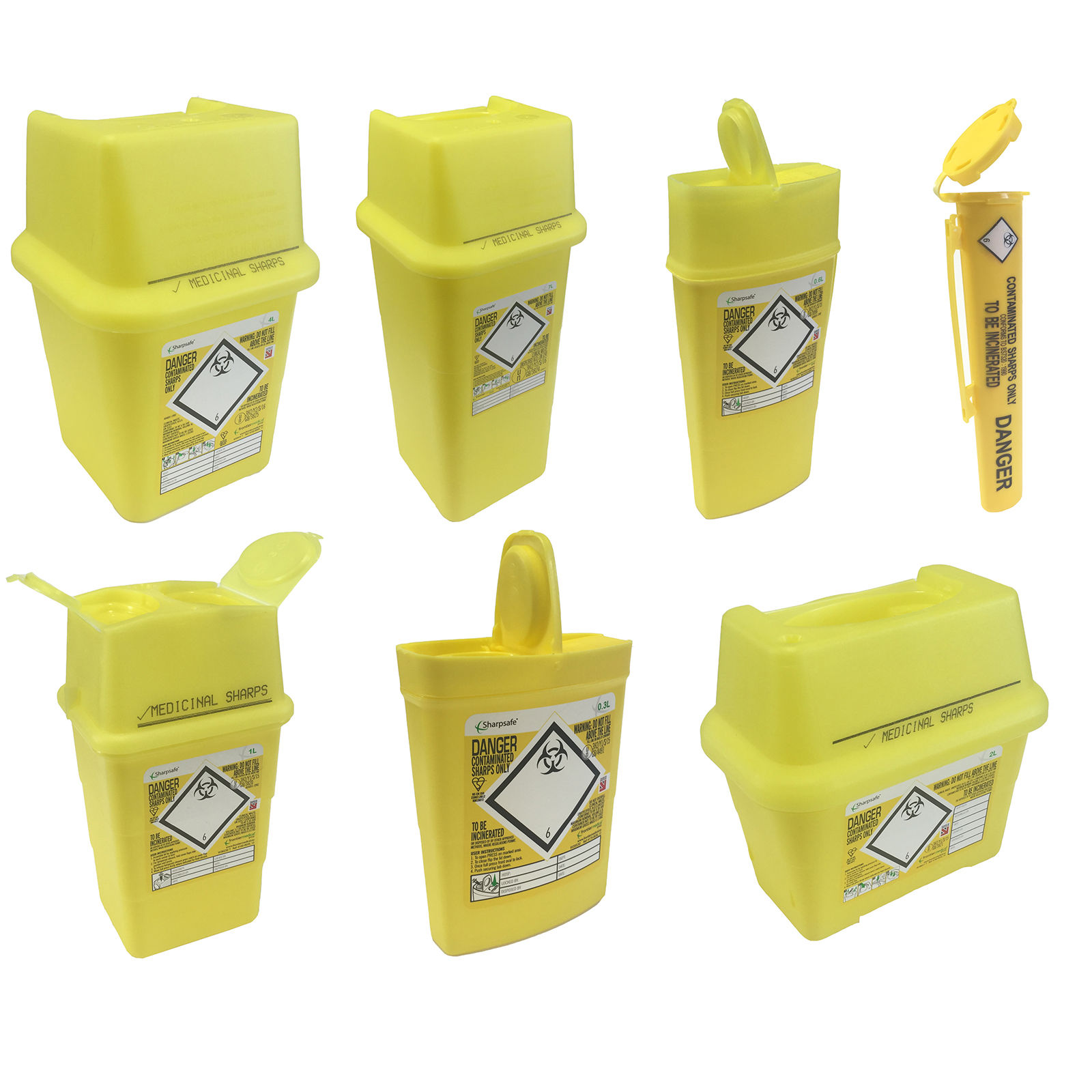 Sharpsafe Yellow Bio Hazard Blade Syringe Needle Clinical