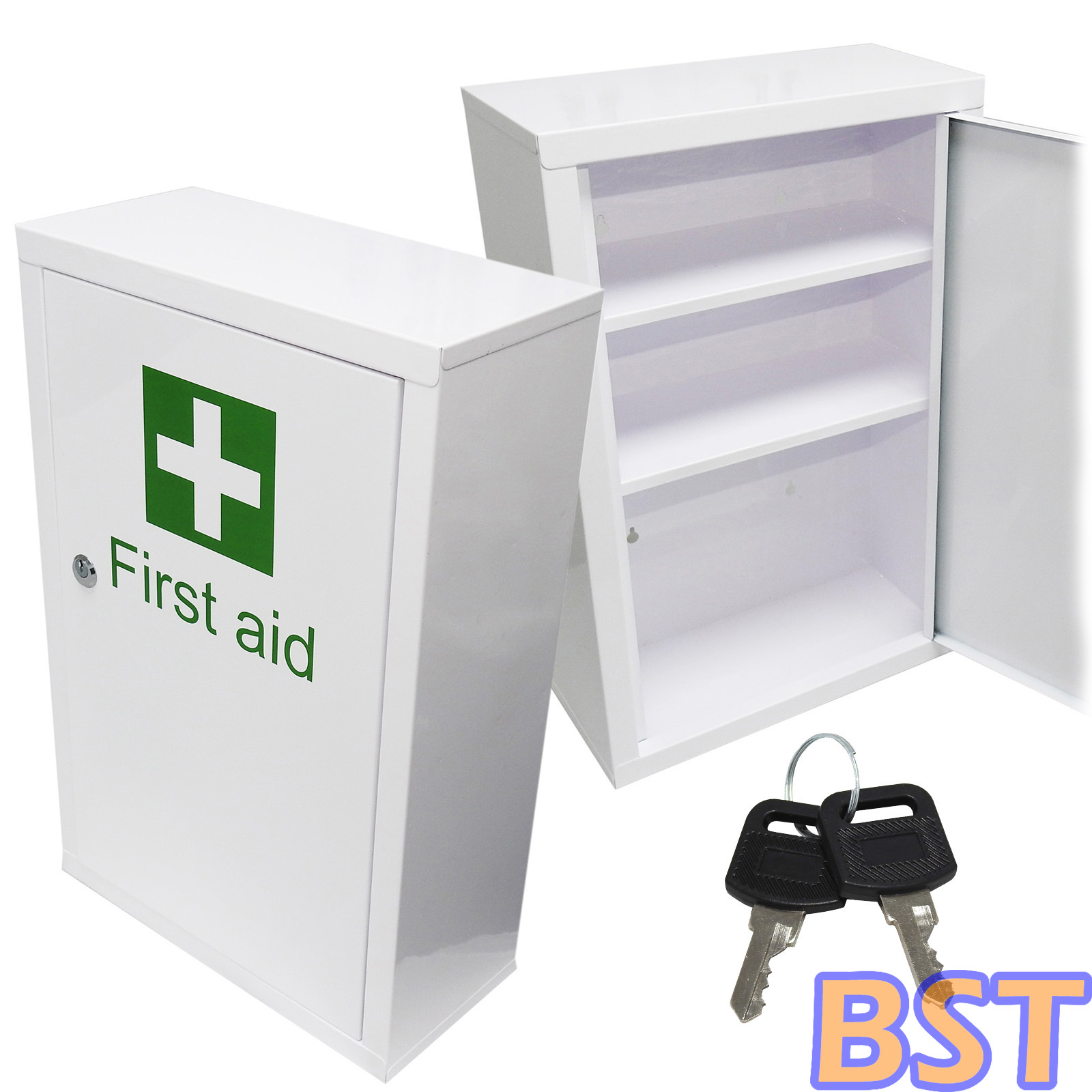 qualicare large medicine first aid medical wall mount cabinet cupboard keys ebay. Black Bedroom Furniture Sets. Home Design Ideas