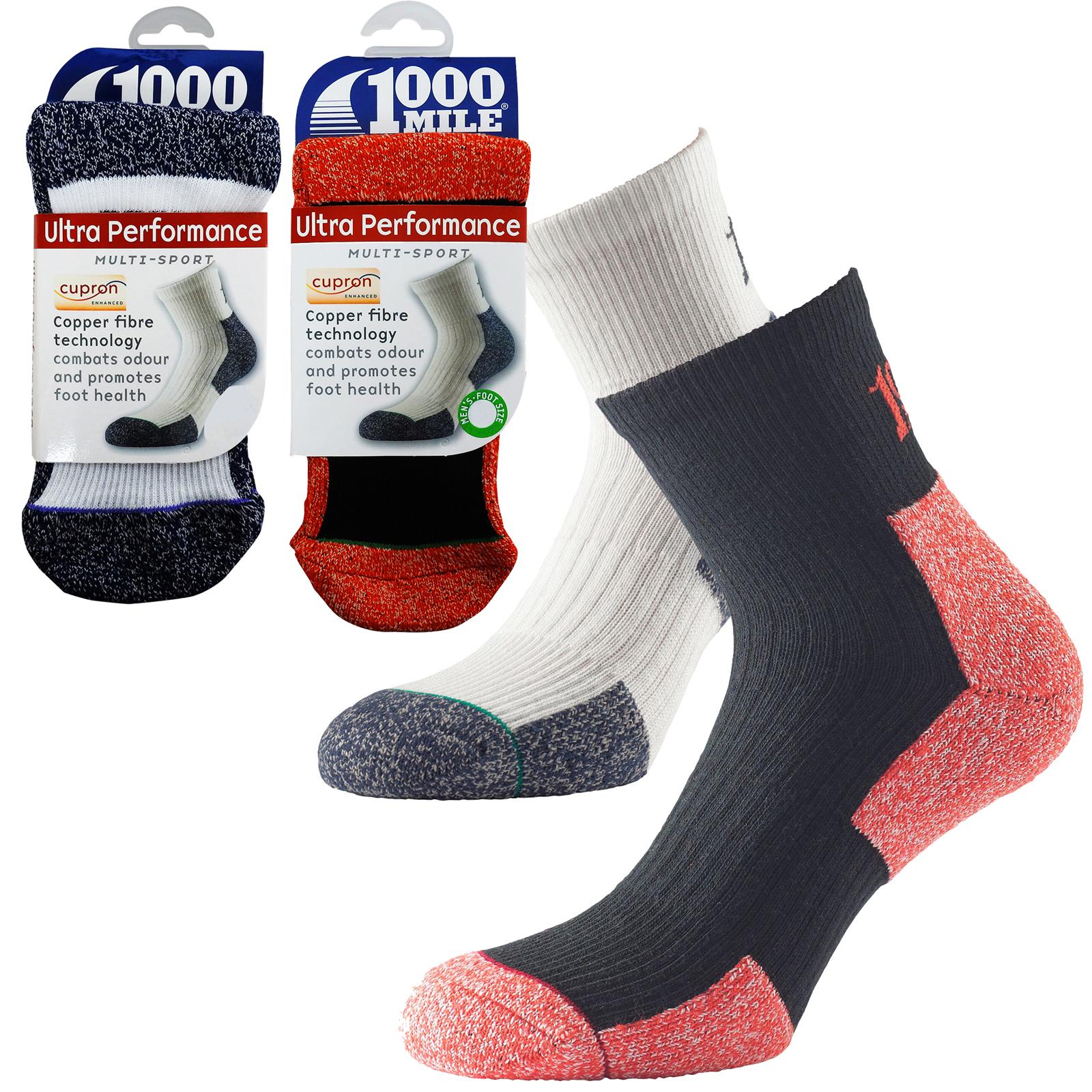 1000 Mile Premium Ultra Performance 3 Season Cupron Mens Walking Hiking Socks