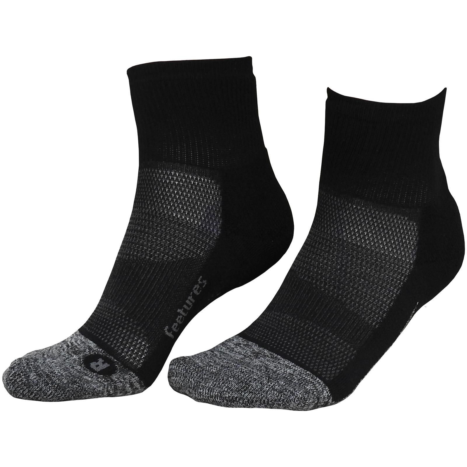 Feetures Elite Quarter Length Ultimate Sports Running Gym Workout Socks Grey
