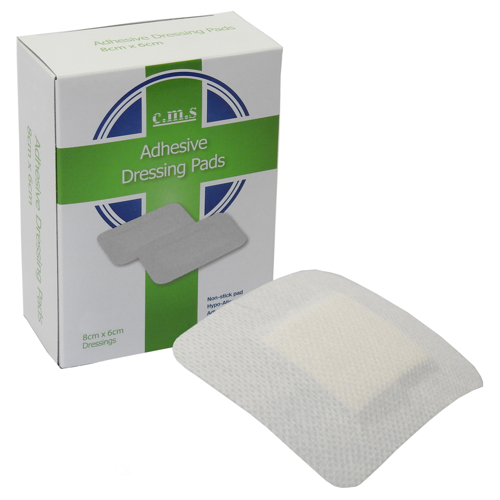 Details about CMS Medical Grade 8 x 6cm Large White Fabric Adhesive Wound  Dressing Plaster x 1