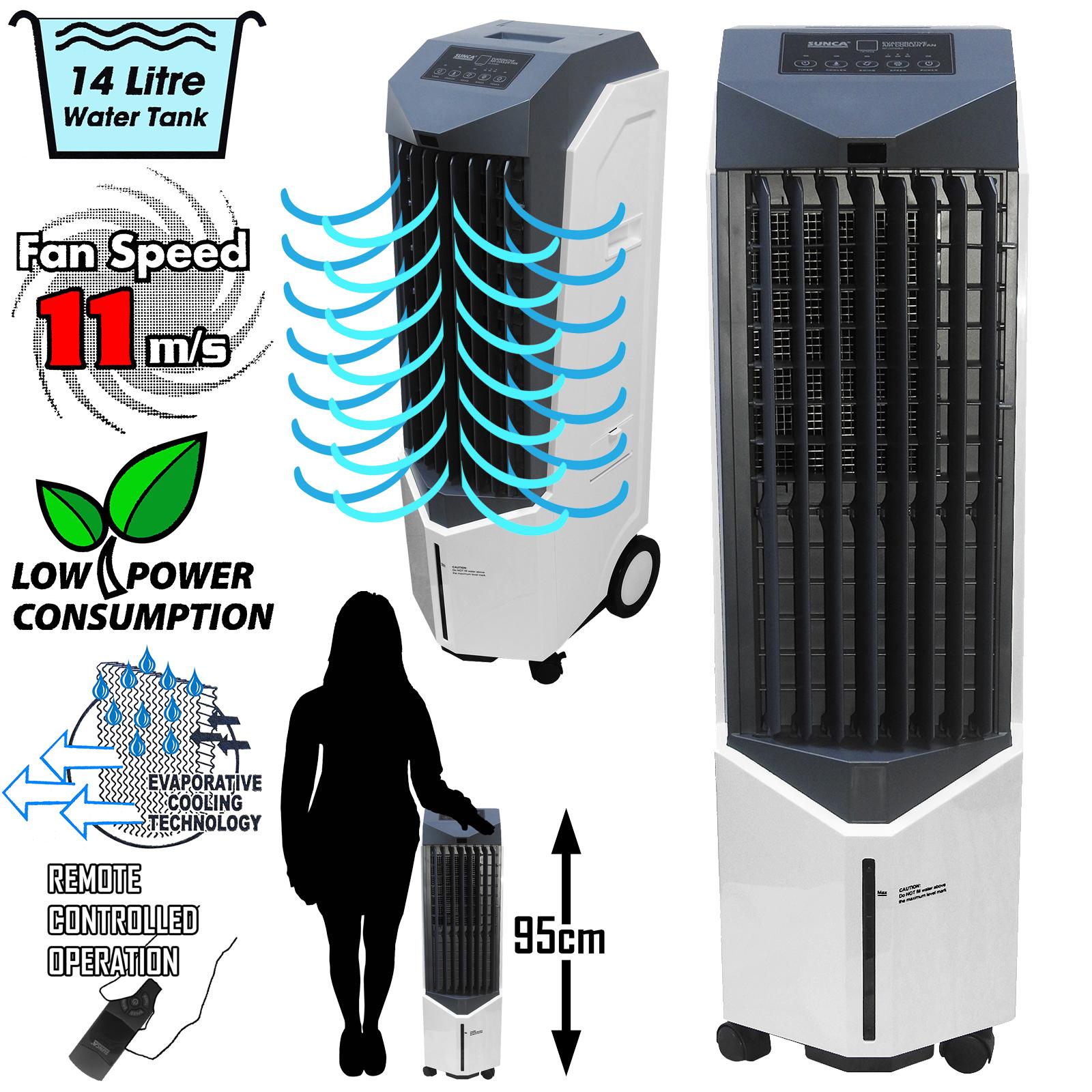 14 L Commercial Grade Oscillant Refroidisseur d/'air Conditionneur Humidificateur Bureau Ventilateur