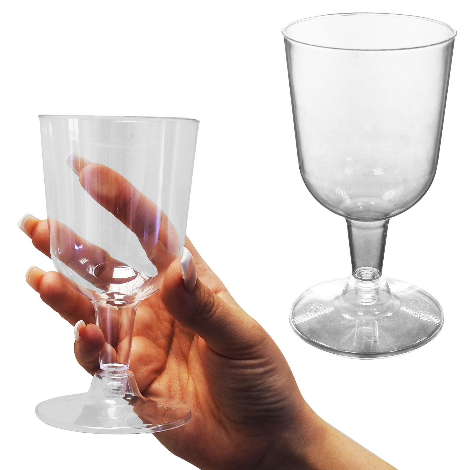 Premium Party Bbq Wedding Disposable Clear Plastic Wine Glasses Goblets 175ml Ebay