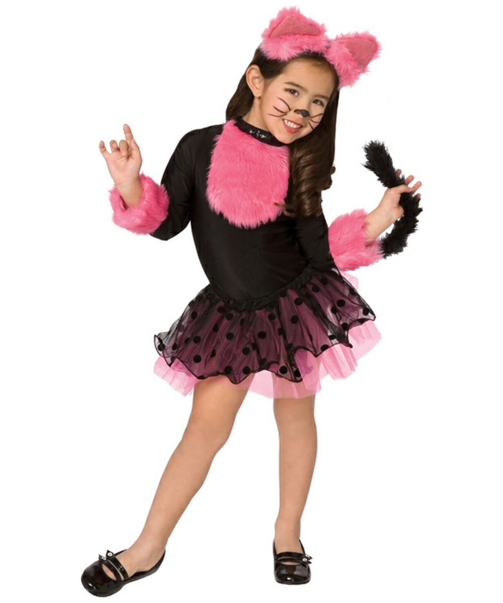 Palamon  sc 1 st  eBay & Girls Cute Cat Fancy Dress Costume Kids Animal Black Pink Cat ...