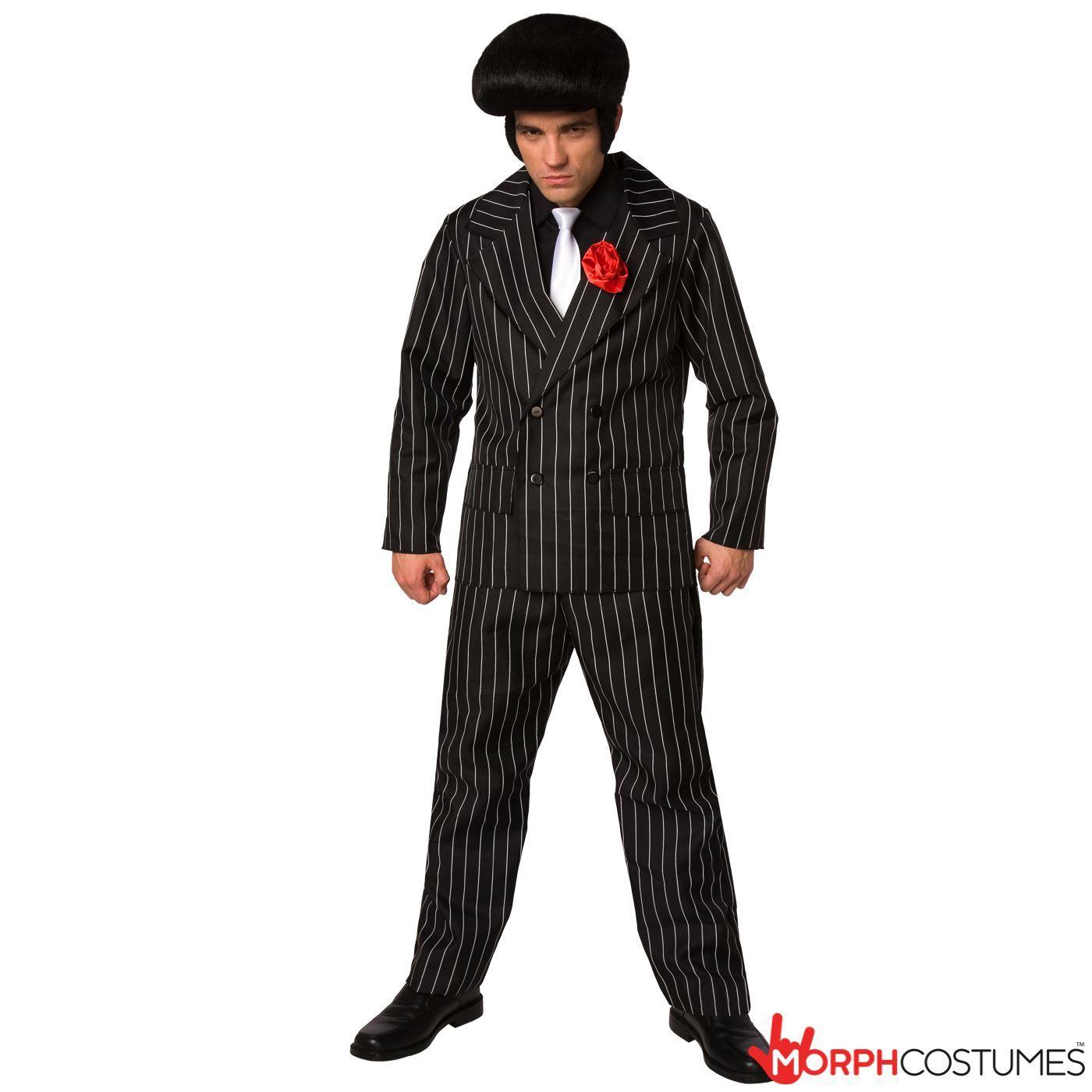 Mens 1920s Gangster Suit Fancy Dress Costume 20s Pinstripe Mafia ...