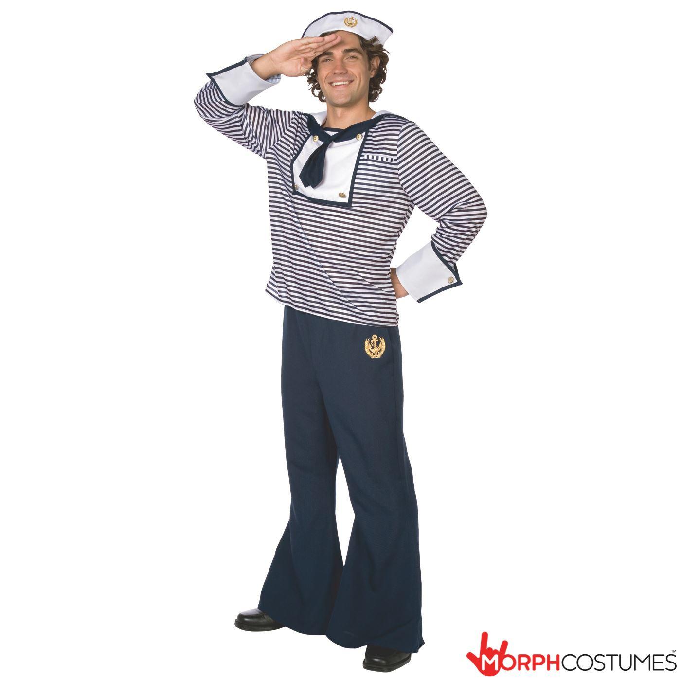 MENS SAILOR COSTUME  sc 1 st  eBay & Mens Sailor Fancy Dress Costume Navy Uniform Complete Outfit Incl ...