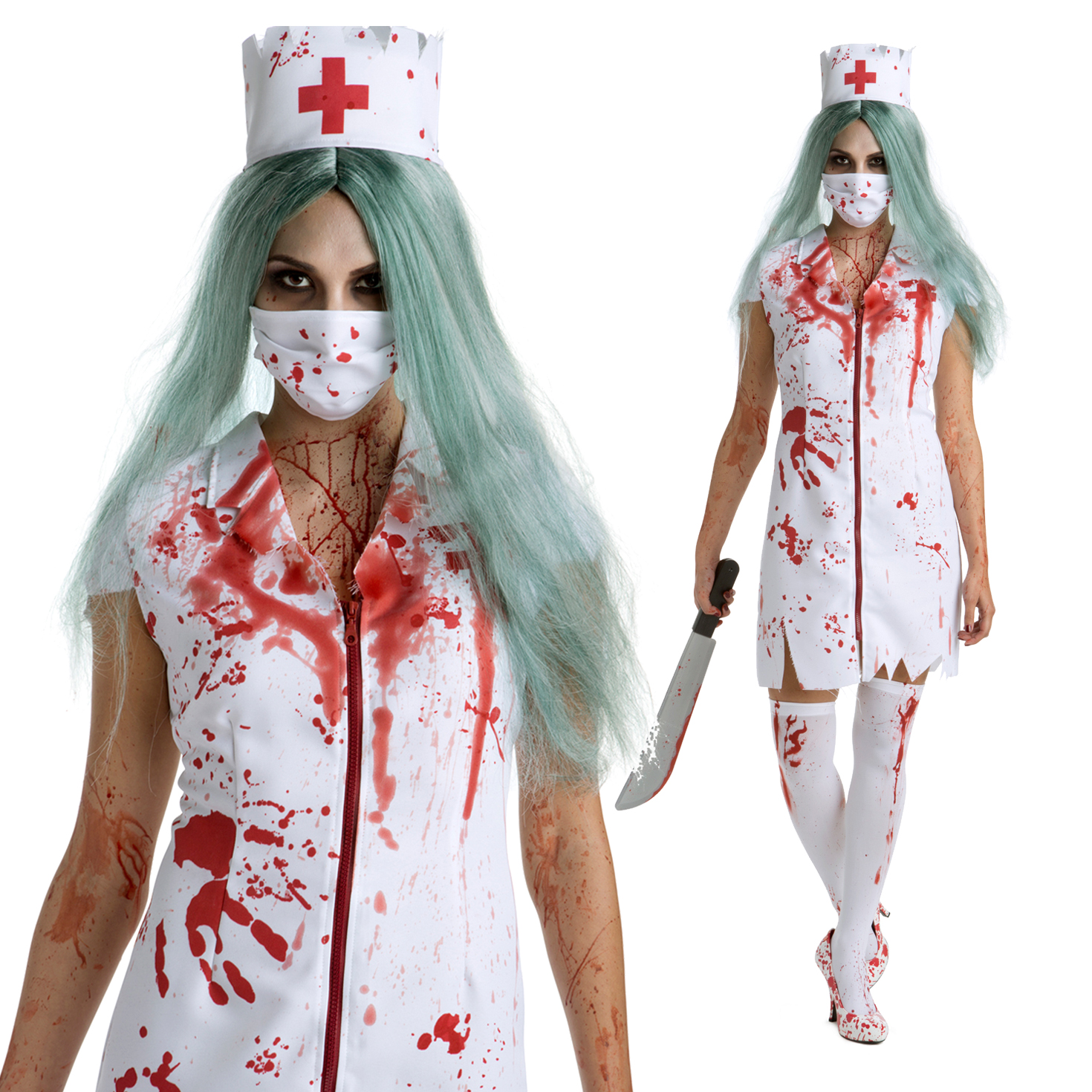 Halloween Party Bloody Nurse Costume Scary Zombie Fancy Dress Cap Mask Uniform