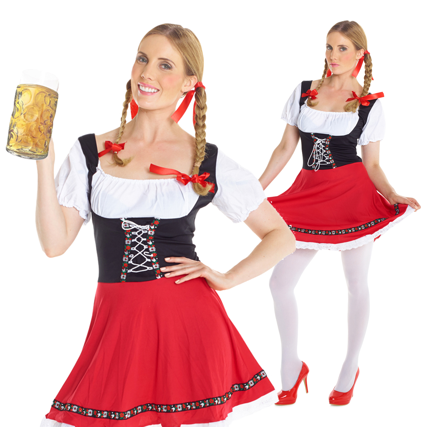 Lady Oktoberfest Costume Bavarian Beer Girl Fancy Dress German Wench Outfit Maid