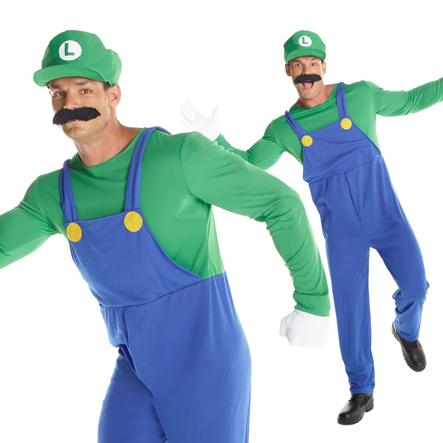 Men Adult Super Mario Bros Fancy Plumber Costume World Book Day Halloween Funny