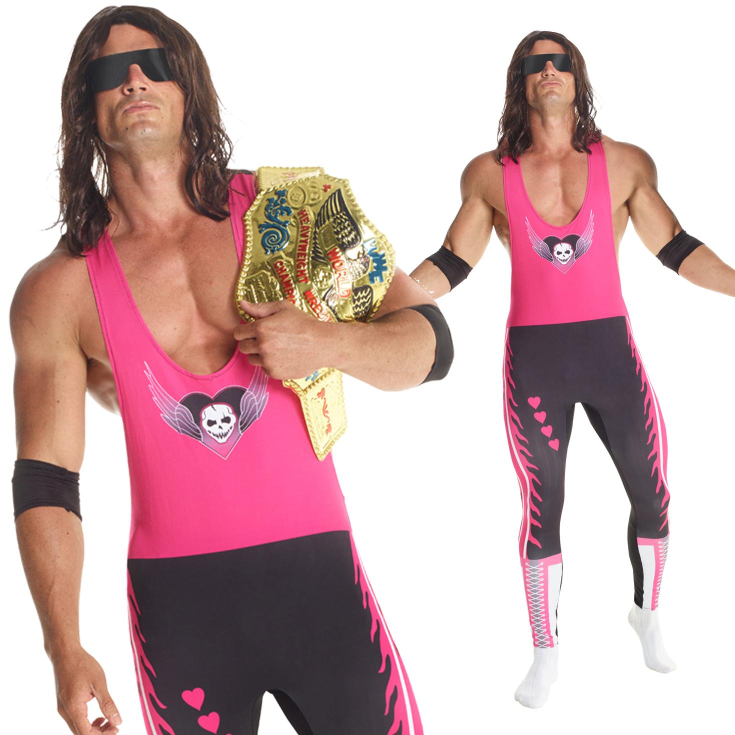Licenced Wwe Bret The Hitman Hart Wrestler Fancy Dress Costume Adult Wrestling Ebay